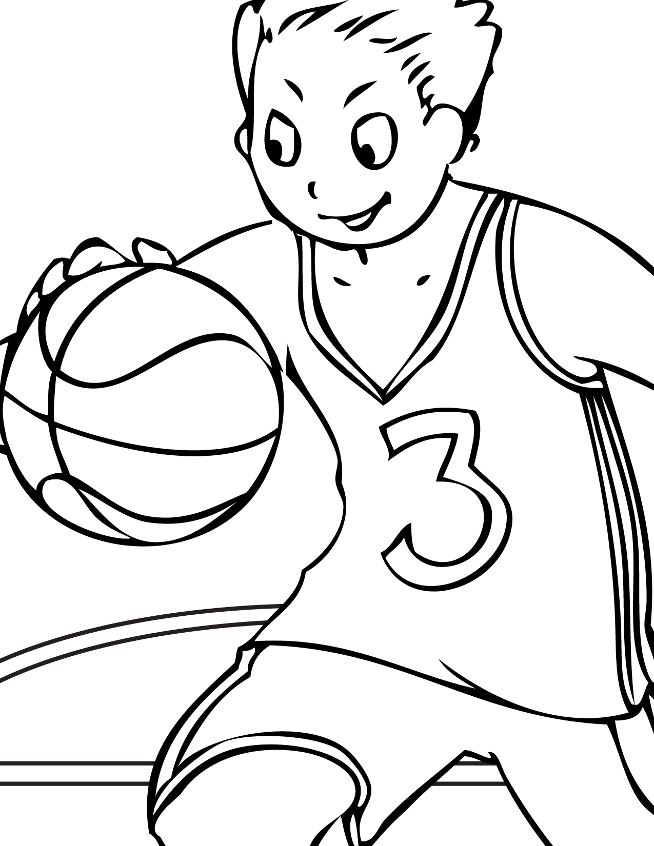 1275x1650 Basketball Player Free Coloring Page Kids, Sports Coloring Pages
