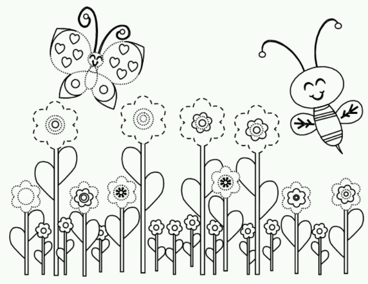 720x556 Spring Butterflies With Flowers Coloring Pages