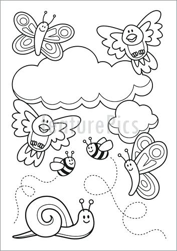 353x500 Baby Animals Coloring Book A Spring Scene With Baby Animal
