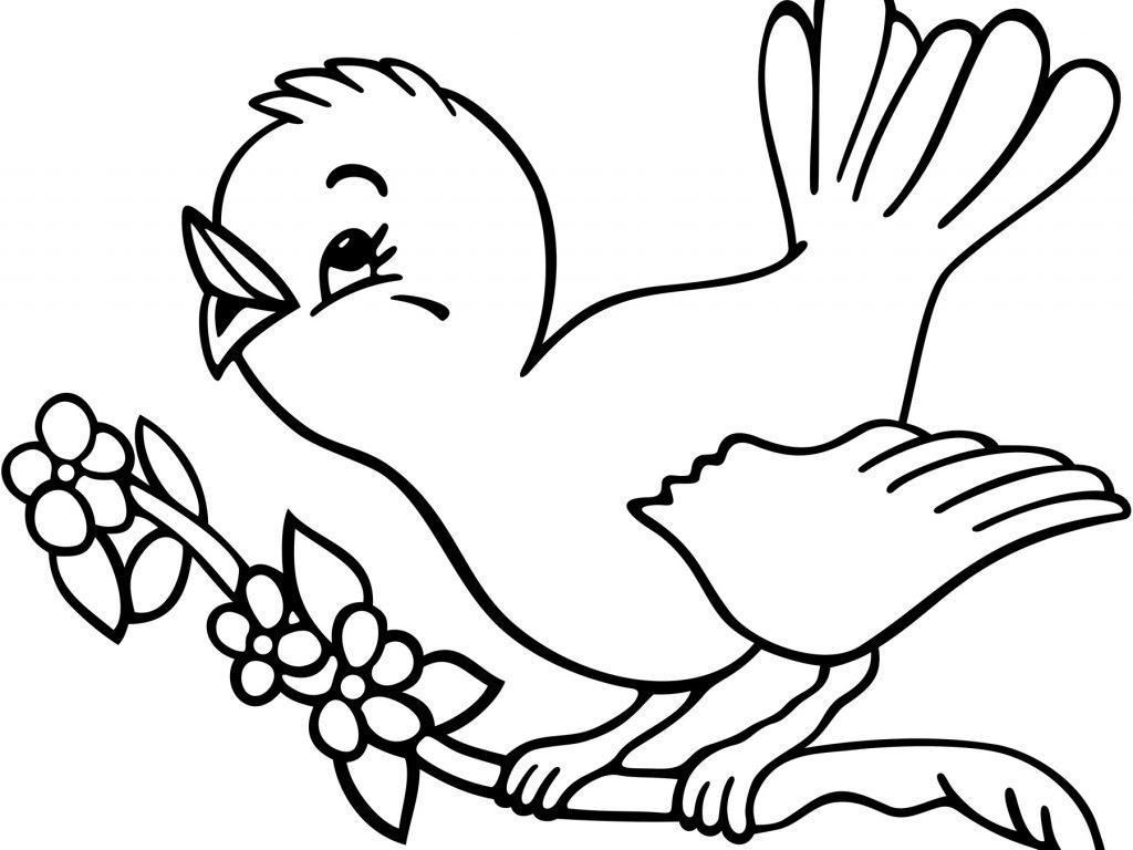 1024x768 Easy Bird Coloring Pages For Preschoolers Spring Birds Adult Page