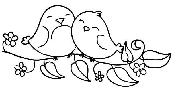 600x360 Love Birds Sitting On The Flowering Branch Coloring Pages