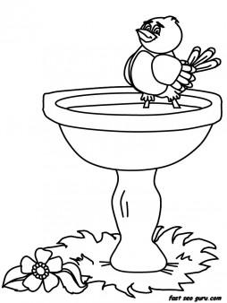 254x338 Printable Birds Baby Birdbath Animals Coloring Pages