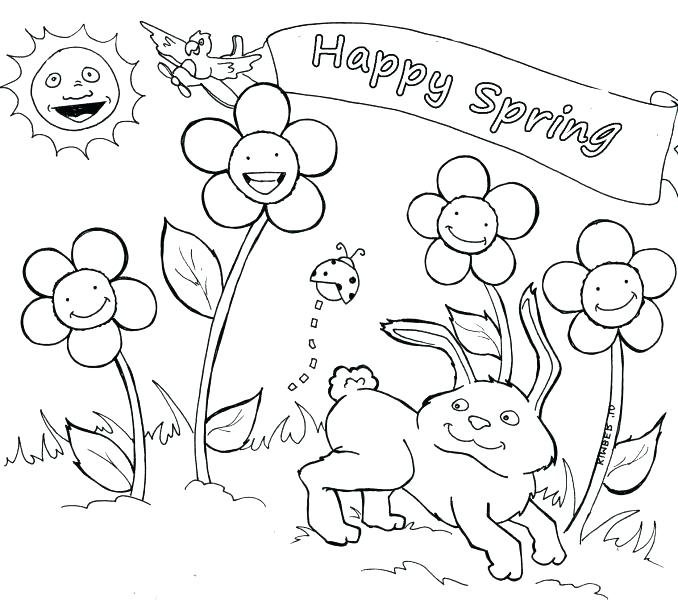 678x600 Happy Spring Coloring Pages Happy Spring Coloring Pages Spring