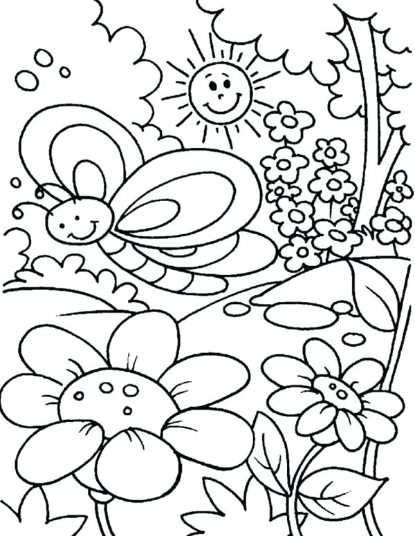 600x776 Kids Spring Coloring Pages For Springtime Coloring Pages