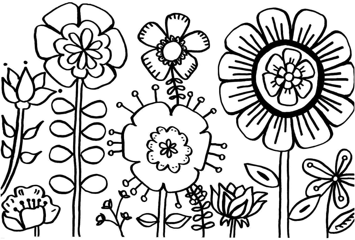 1500x1017 Spring Things Coloring Page