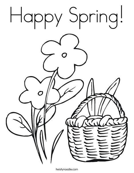468x605 Happy Spring Coloring Page