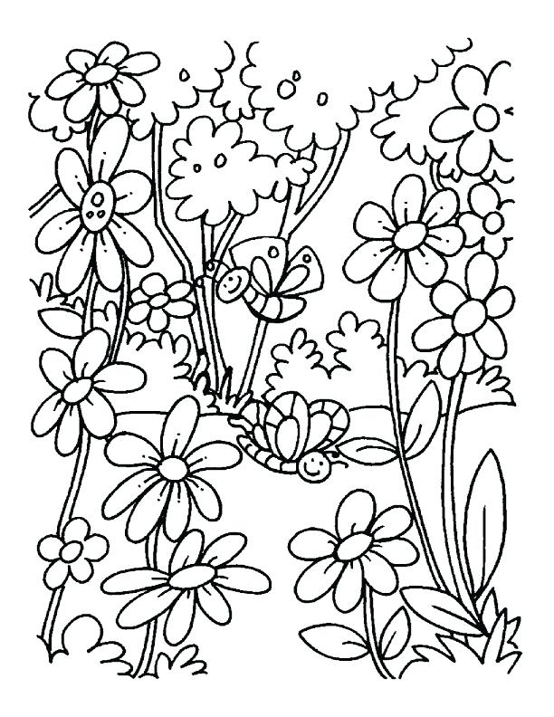 612x792 Spring Coloring Pages A Blooming Field Of Flowers Coloring Pages
