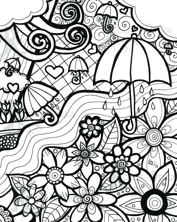 570x713 Spring Coloring Pages For Adults Instant Download Coloring Page