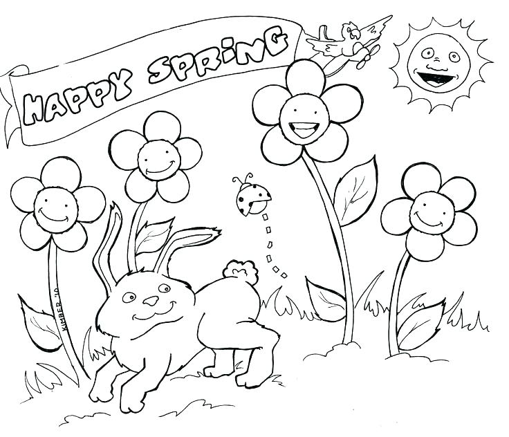 736x632 All Flower Are Blooming On Springtime Coloring Page Download