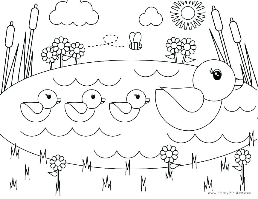 863x667 Spring Coloring Pages Spring Season Nature Printable Coloring