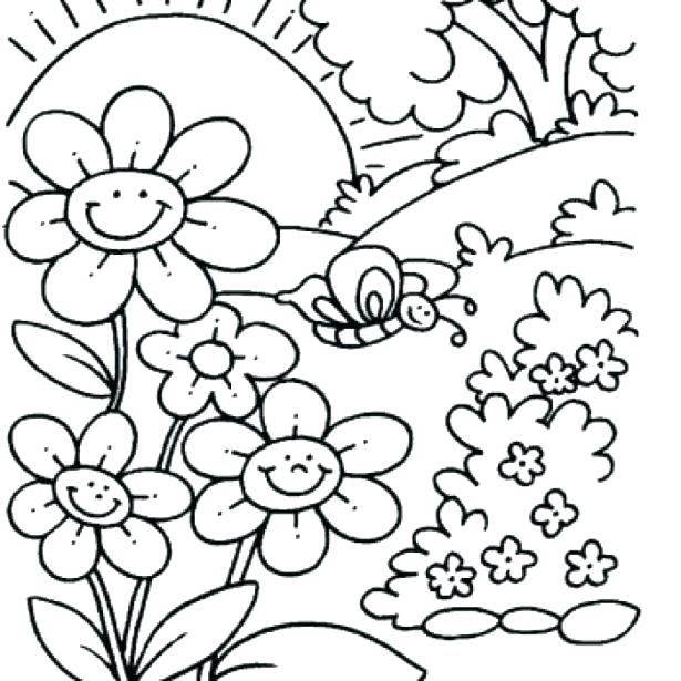 615x615 Free Spring Coloring Pages Spring Coloring Pages For Preschoolers
