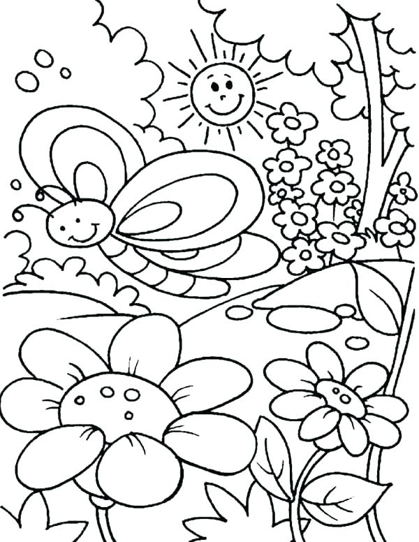 600x776 Welcome Spring Coloring Sheets Spring Coloring Pages