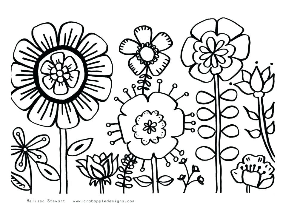 948x731 Spring Flowers Coloring Pages To Print