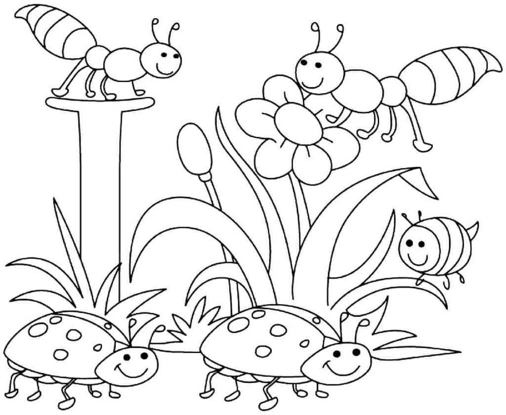 1024x840 Coloring Pages Spring Coloring Pages Pdf Colouringpageel Free