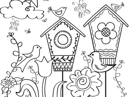 Spring Birds And Flowers Coloring Pages | 330x440