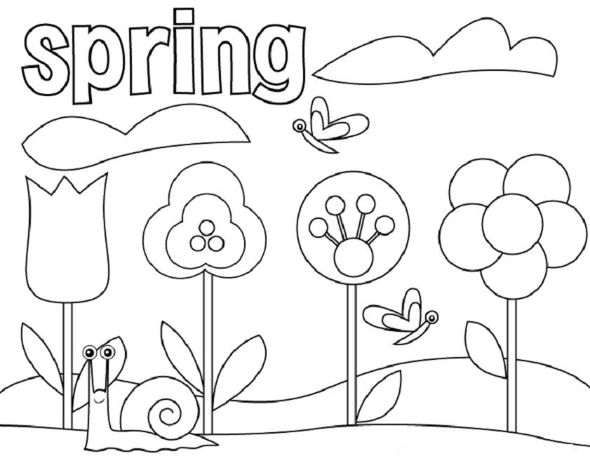 841x650 Springtime Printable Coloring Pages Insider Springtime Pictures