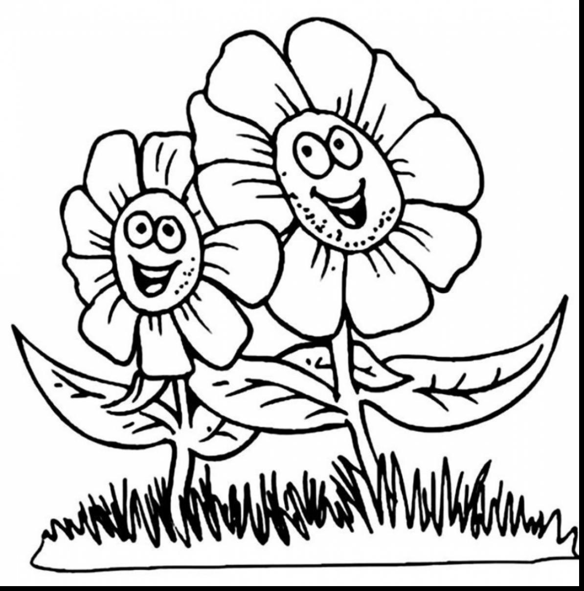 1194x1210 Spring Flowers Coloring Pages