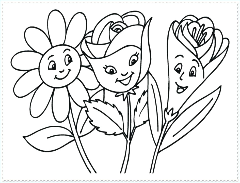 945x718 Spring Flowers Coloring Pages Children