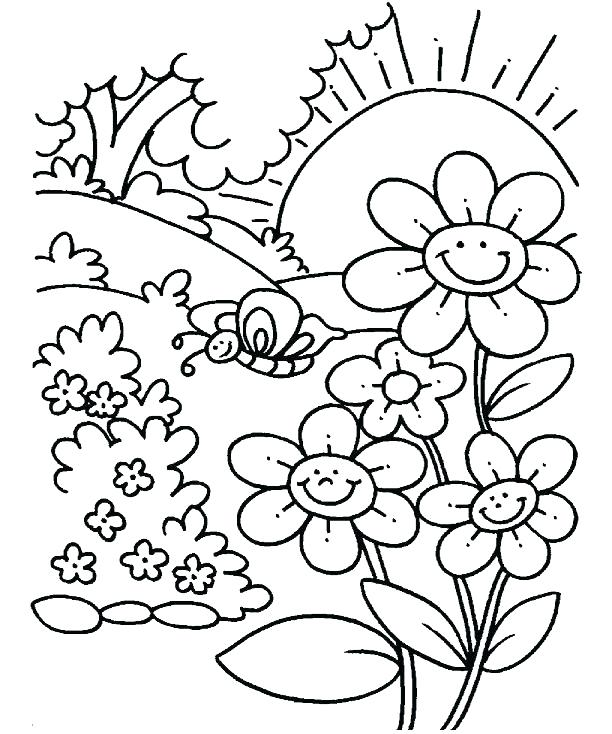 612x734 Spring Flowers Coloring Pages Icontent