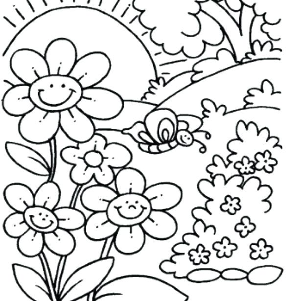 615x615 Printable Spring Coloring Pages Spring Coloring Pages