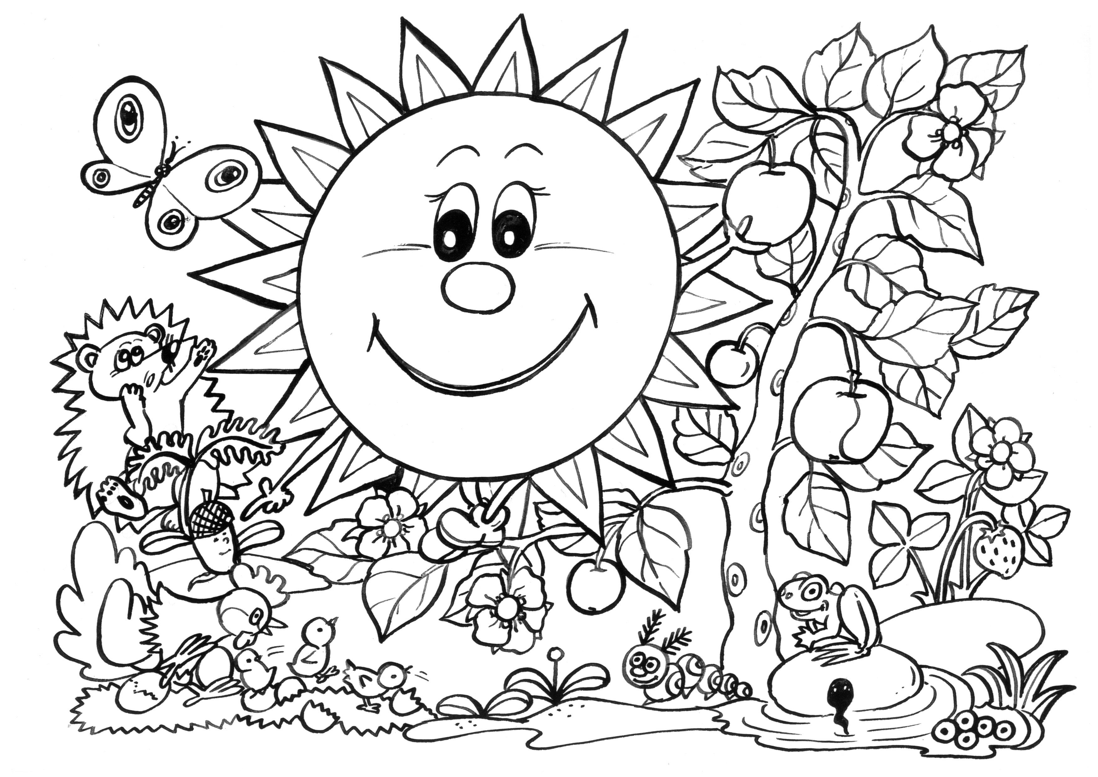 3508x2484 Awesome Collection Of Spring Rain Coloring Pages For Coloring Page