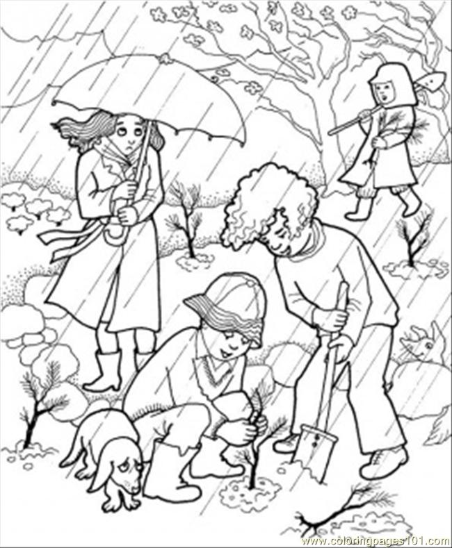650x789 Rain In The Garden Coloring Page