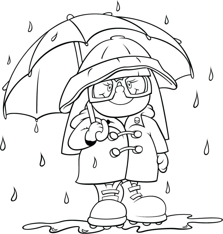 845x887 Boy With His Umbrella And Rain Jacket Under The Spring Rain