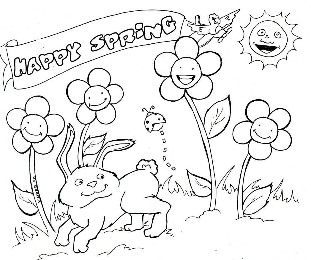 1047x875 Coloring Pages For Spring Free Coloring