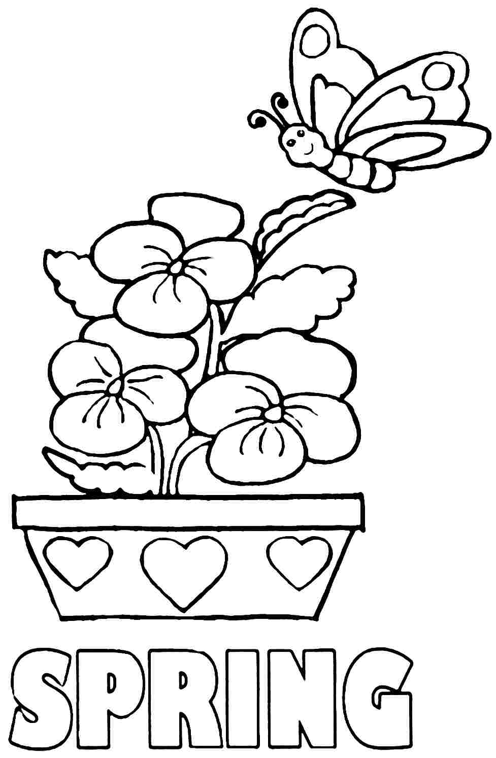 977x1493 Spring Coloring Pictures For Pages Free Printable