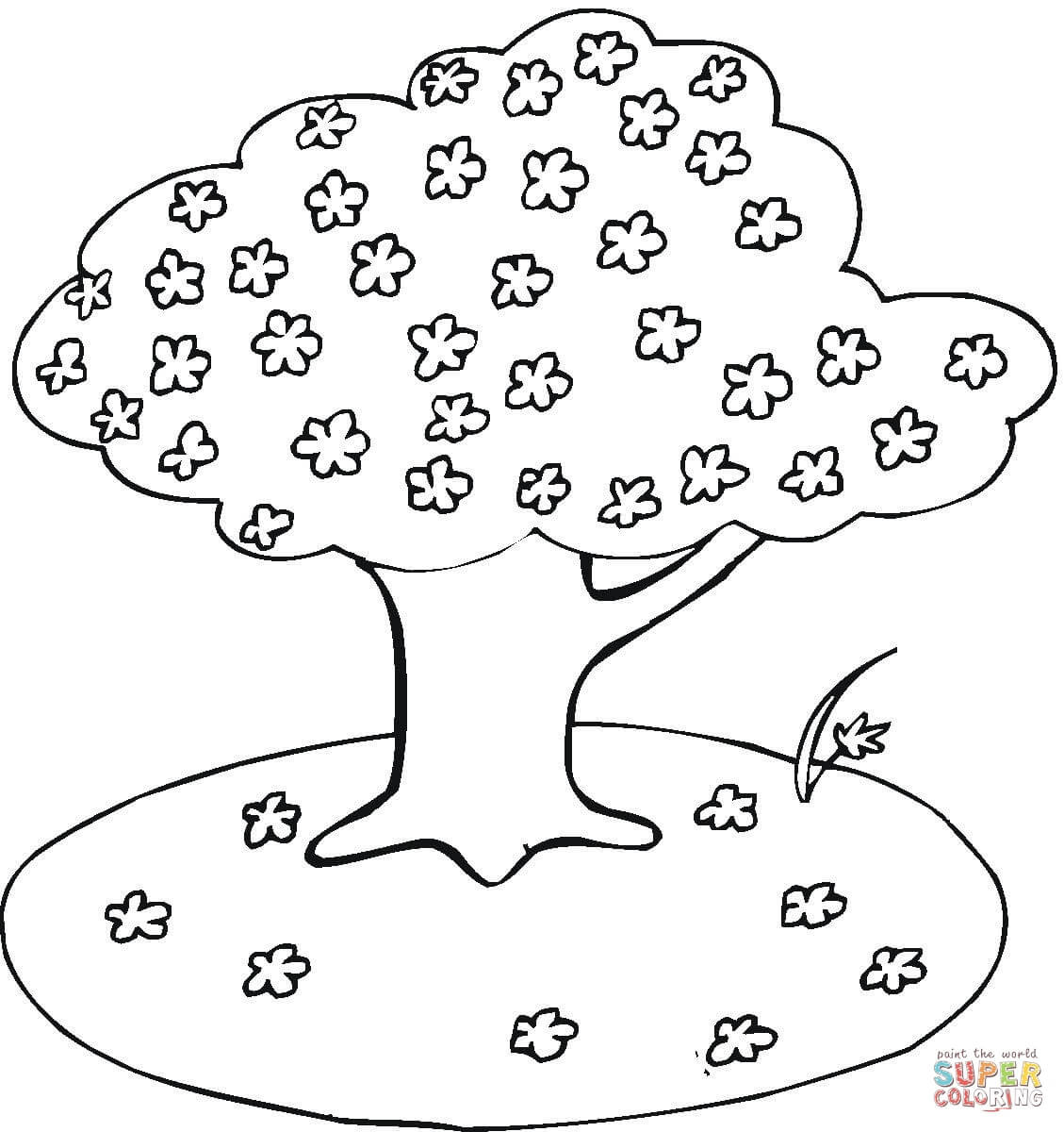 1129x1200 Coloring Pages Of Spring Trees Blooming Cherry Tree Page Free