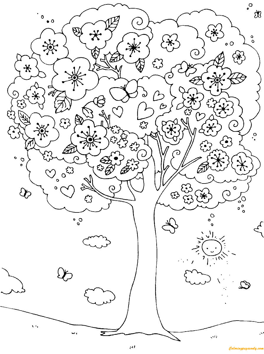 895x1198 A Nice Blossoming Tree Coloring Page