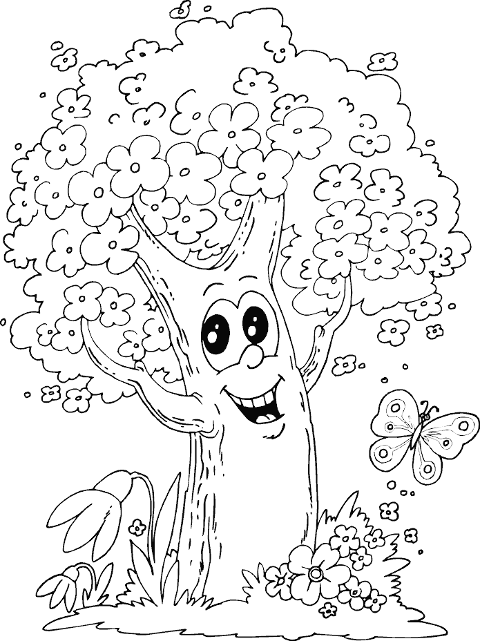 695x928 Spring Tree Coloring Page