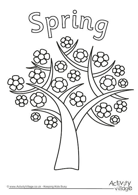 460x650 Spring Tree Coloring Page