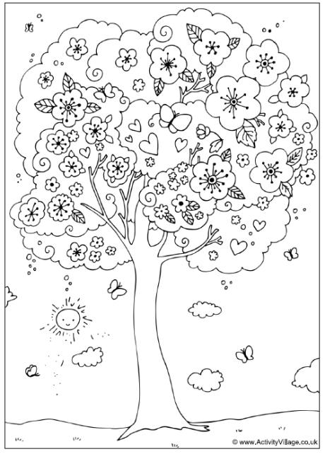 460x642 Such A Happy Tree! Blossom Tree Colouring Page