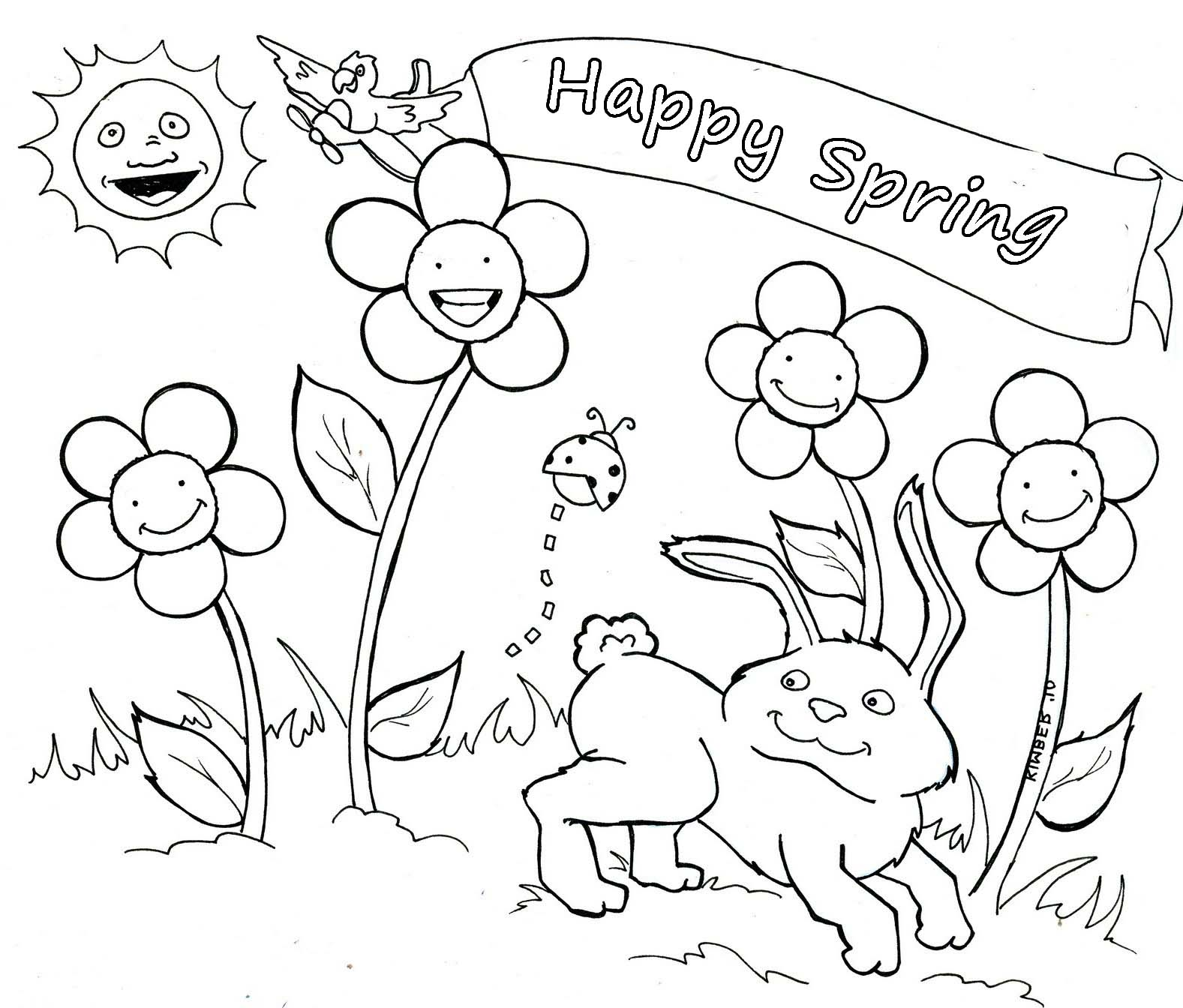 1577x1344 Spring Coloring Pages Chicks And Tulips