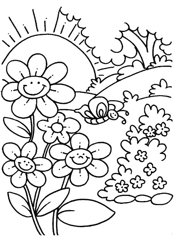 588x780 Free Spring Coloring Pages Printable Spring Coloring Pages