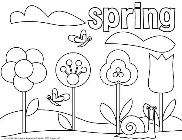 600x464 Picture Of Springtime Coloring Page