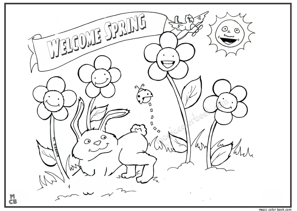 980x696 Welcome Spring Coloring Pages