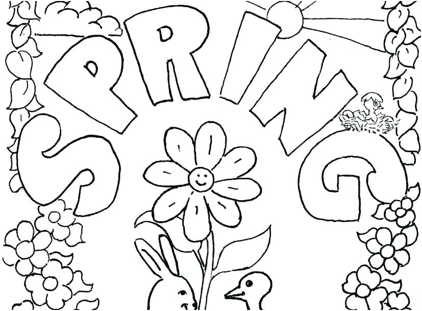 827x609 Free Spring Coloring Pages Printable