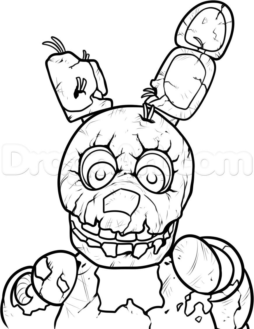 871x1128 How To Draw Springtrap From Five Nights