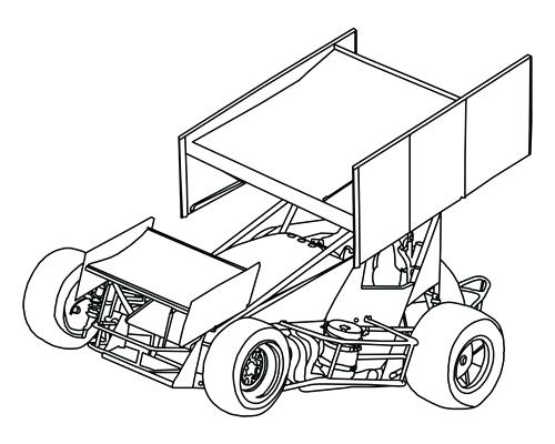 500x400 Sprint Car Coloring Pages Sprint Car Vector Tattoo Free Sprint