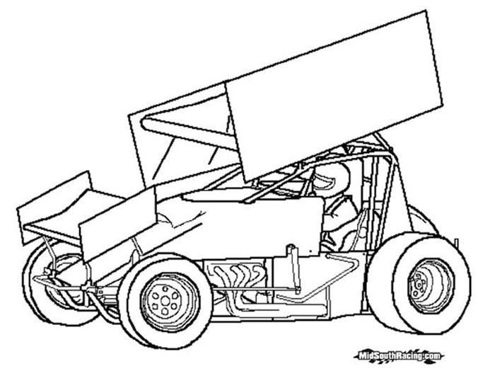 676x524 Dirt Race Car Coloring Pages Sprint Car Drawing Sprint Car Sprint