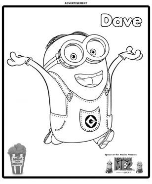 308x373 Minion Dave Coloring Page No Show Coloring Pages For Kids