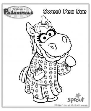 308x373 Sweet Pea Sue Pajanimals Coloring Pages Pbs Kids Sprout