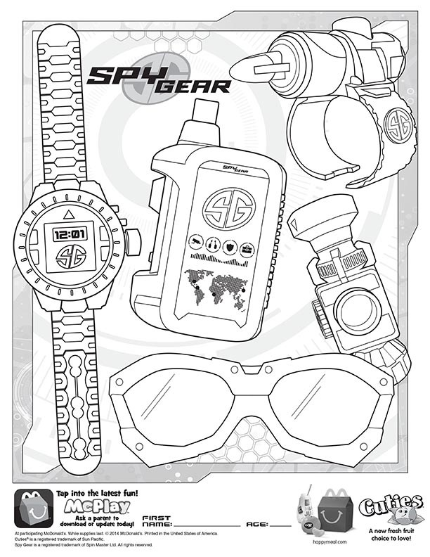 612x792 Mcdonalds Happy Meal Coloring And Activities Sheet Spy Gear