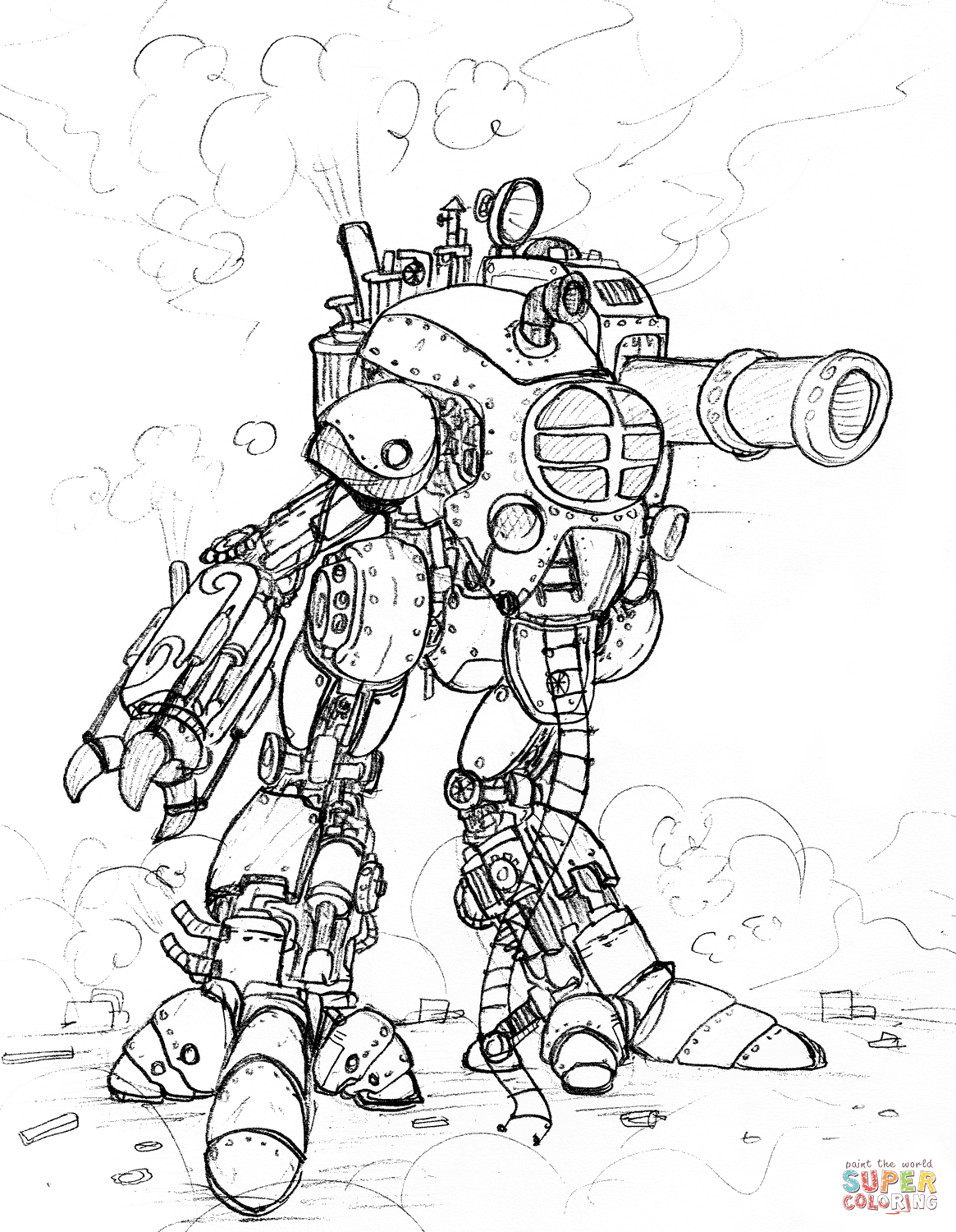 1165x1500 Strong Steampunk Gears Coloring Pages Giant Robot With A Big