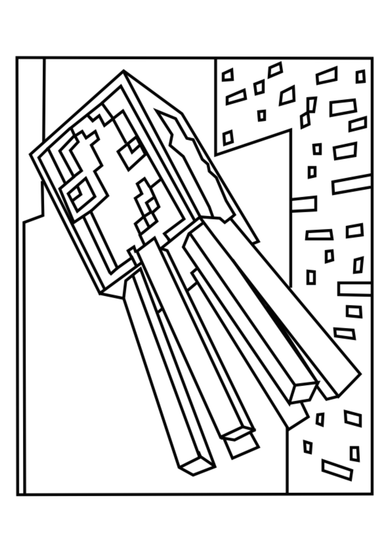 1295x1832 Squid And Spider Minecraft Coloring Pages Free Printable
