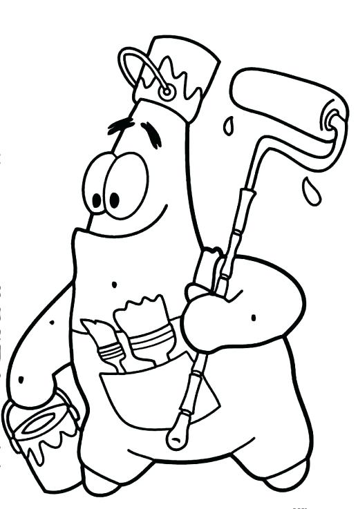 518x737 Patrick Spongebob Coloring Pages The Starfish Is Going To Paint