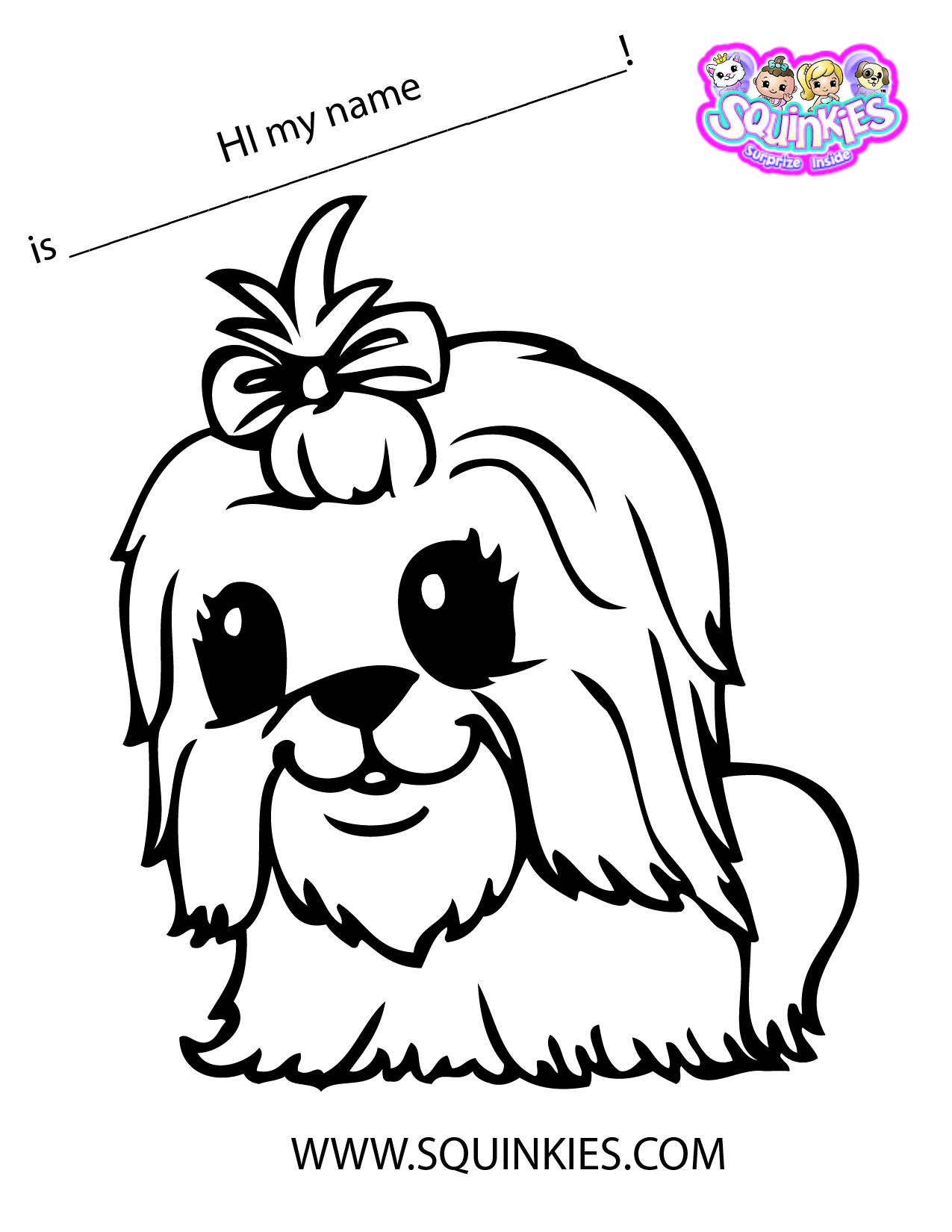 1275x1650 Squinkies Coloring Page! Squinkies Activities Craft