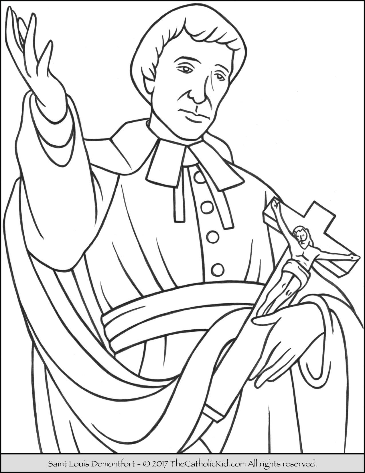 1275x1650 Saint Louis Demontfort Coloring Page